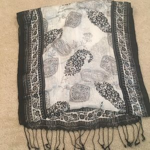 Black, white and silver scarf
